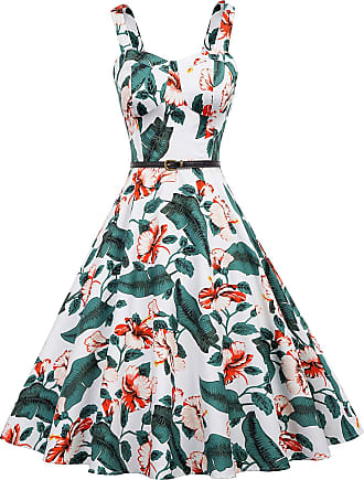 Belle Poque 60s A Line Rockabilly Dress Sleeveless Printed Vintage Swing Party Dress for Women Floral-2 918 XX-Large