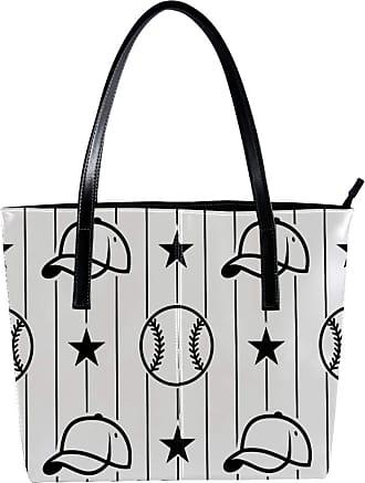 Nananma Womens Bag Shoulder Tote handbag with Black And White Baseball Sport Pattern Zipper Purse PU Leather Top-handle Zip Bags