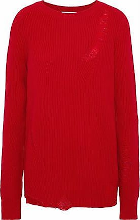 Helmut Lang Helmut Lang Woman Distressed Wool And Cashmere-blend Sweater Red Size XS