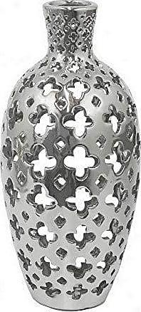 Three Hands Pierced Ceramic Vase, Silver