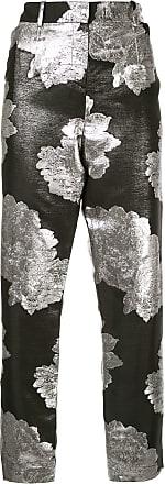 Ingie Paris floral metallic trousers - Preto