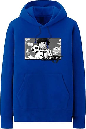 Haililais Captain Tsubasa Pullover Hoodie Popular Sweatshirt Simple Leisure Printed Pullover Long Sleeve Tops with Pocket Unisex (Color : Blue01, Size : Height-