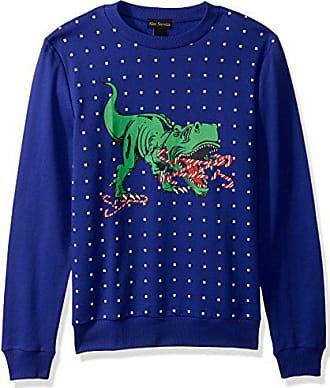 Alex Stevens Mens Candy Cane T-rex Ugly Christmas Sweater, Blue, Large