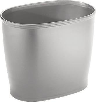 InterDesign Kent Plastic Oval Wastebasket, Trash Can for Bathroom, Kitchen, Office, Bedroom, 8 x 12 x 10, Silver
