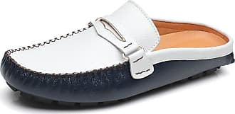 Jamron Mens Comfortable Faux Leather Carpet Slippers Mules Driving Loafers Moccasins Navy SN19048 UK5.5
