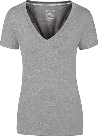 Mountain Warehouse Vitality Womens V Neck Tee - Lightweight Winter T-Shirt, Breathable, High Wicking, Easy Care Ladies Tee Shirt- Ideal for Travelling, Gym, Outdoors Gre