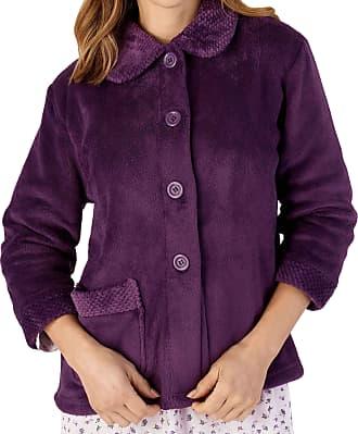 Slenderella Ladies 3/4 Sleeve XXX Large Soft Purple Soft Coral Fleece Button Up Bed Jacket Coat Size 28 30