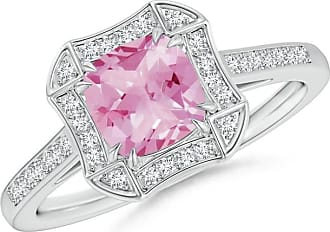 Angara Valentine Day Sale - Art Deco Cushion Cut Pink Tourmaline Ring with Diamond Accents