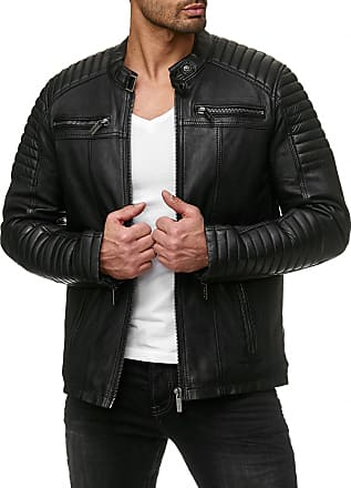 Red Bridge Red Bridge Mens Faux Leather Genuine Jacket Transition Biker Ribbed Fashion Cotton Coats