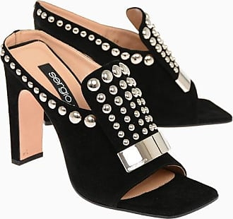 Sergio Rossi Suede Mules with Studs 11.5 cm size 37,5
