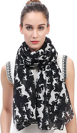 Lina & Lily Horses Print Womens Large Scarf Lightweight (Black)