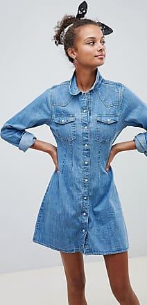 Asos Denim - Vestito camicia di jeans stile western aderente con cuciture blu lavaggio medio