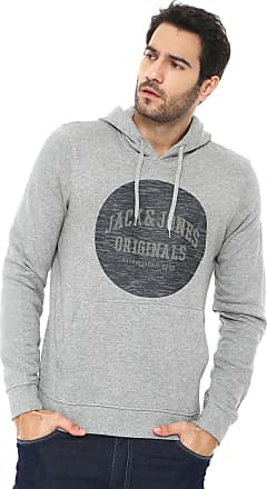Jack & Jones Moletom Flanelado Fechado Jack & Jones Originals Cinza