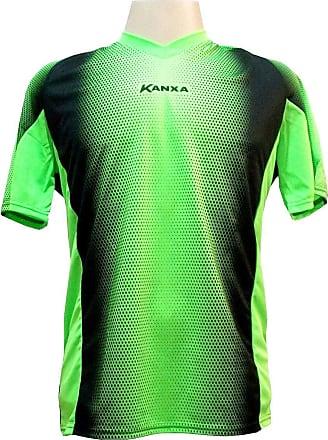 Kanxa Camisa de Goleiro Profissional modelo Pop Graf Manga Curta Tam G Nº 12 - Limão/Preto - Kanxa