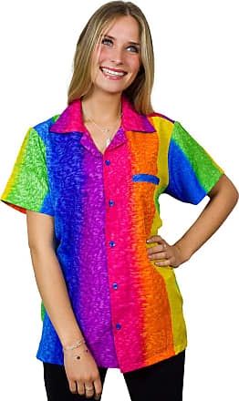 V.H.O. Funky Hawaiian Blouse, Rainbow Vertical, Multicolor, XL
