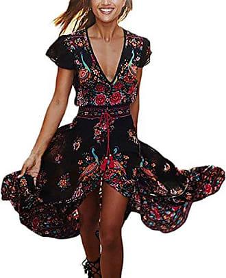 136525d1e36831 Laisla Fashion Maxikleid Damen Kleid Lang Elegant Kurzarm V Ausschnitt High  Waist Retro Joker Hippie Boho