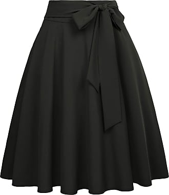 Belle Poque Summer Clothes for Women Knee Length Solid Color Swing Party Skirts Black-2(561-26) Medium