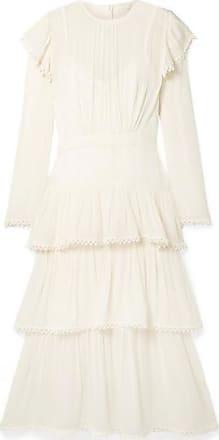 Zimmermann Ninety-six Tiered Ribbed Silk-georgette Midi Dress - Ivory