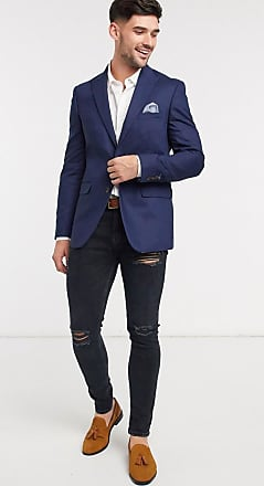 Burton Menswear slim linen suit jacket in mid blue