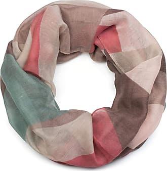 styleBREAKER women loop scarf with geometric prism spike print, snood, shawl, women 01017091, Colour:Brown-Rose-Mint