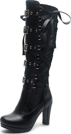 Vimisaoi Womens Platform Gothic Knee High Boots, Punk Back Zipper Multi-Buckles Block High Heels Knight Combat Boots
