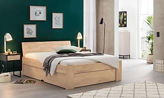 Ravensberger Matratzen Bett Mia, Buche massiv, 90 cm x 210 cm, Sitzhöhe 50 cm, Kopfteil Nr. 11, Mahagoni