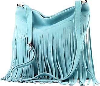 modamoda.de T145 - ital shoulder bag fringed suede, Colour:T145 Light Blue