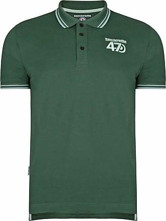 Lambretta Twin Tipped Collar 47 Logo Mens Polo Shirts (UK Large, Dark Forest/Green)