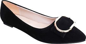 Daytwork Womens Casual Closed Ballet - Summer Square Buckle Pointed Toe Flat Loafers Slip On Elegant Driving Single Shoes Black