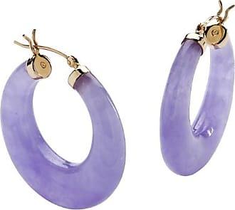 PalmBeach Jewelry Lavender Jade 14k Yellow Gold Hoop Earrings (1)
