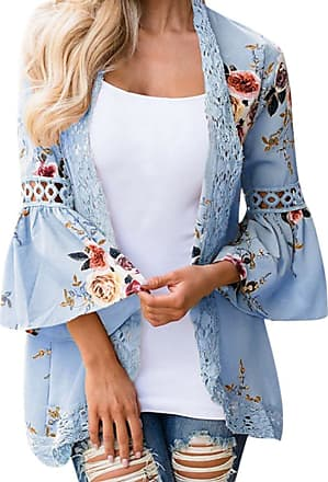 FNKDOR Spring Fashion Women Lace Floral Open Cape Casual Coat Loose Blouse Kimono Jacket Cardigan Tops(Sky Blue,XXL)
