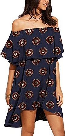 ecacd9f02b1691 LaoZan Damen Cold Shoulder Vintage Hippie Bohemian Sommerkleid Tunikakleid  Partykleid Minikleid Strandkleid Kurze M 4