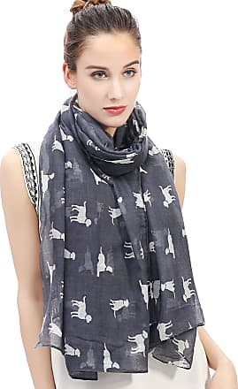 Lina & Lily Labrador Dog Print Womens Large Scarf Lightweight (Grey/White-B)(Size: One Size)