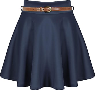 ZEE FASHION Skater Belted Stretch Waist Plain Flippy Flared Jersey Short Skirt Womens Size 8-22 Navy