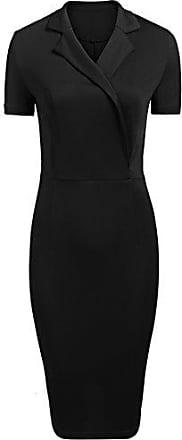 549992fe559a6 Meaneor Damen Elegant Cocktailkleid Casual Business Kleid V-Ausschnitt  Wickelkleid Kurzarm Etuikleid Knielang Bleistift kleid