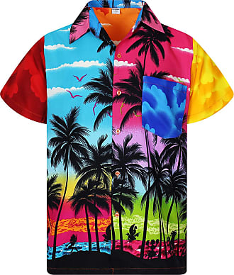 V.H.O. Funky Hawaiian Shirt, Shortsleeve, Mondy Beach, Multicoloured, 3XL