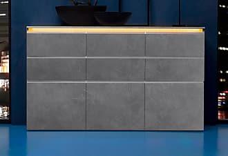 Tecnos Highboard, Breite 180 Cm, Grau, Zement
