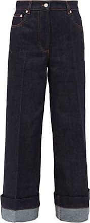 J.W.Anderson Logo-embroidered Wide-leg Jeans - Womens - Dark Denim
