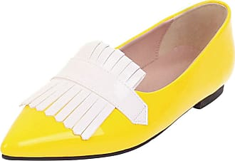 Mediffen Womens Pointed Toe Slip On Casual Tassels Flats Fashion Comfort Flat Shoes Yellow Size 46 Asian