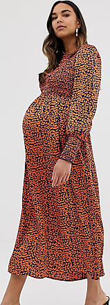 Queen Bee Maternity long sleeve shirred bust midi dress in contrast leopard-Multi