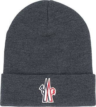 Moncler logo patch knitted beanie - Cinza