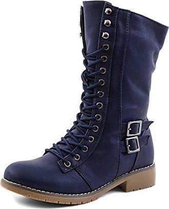 Marimo Damen Schnür Boots Stiefel Schuhe in Lederoptik Navy 36 27527444a3
