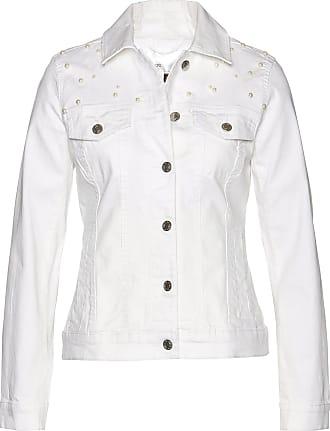 Bonprix Jeansjacke mit Perlen langarm weiß, bonprix