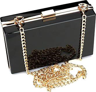 YYW Women Cute Transparent Clear See Through Box Clutch Acrylic Evening Handbag Cross-Body Purse Bag (Black)