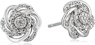 Amazon Collection Sterling Silver Diamond 7 Stones Cluster Flower Stud Earrings