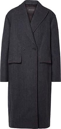 Cedric Charlier Paneled Herringbone Wool And Cashmere-blend Coat - Navy