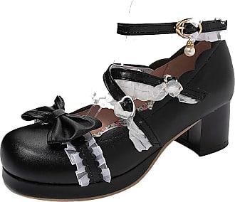 RAZAMAZA Women Fashion Bow Shoes with Lace Mid Block Heels Round Toe Court Shoes Cute Girls Shoes Black Size 43 Asian