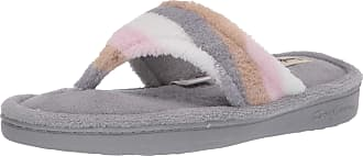 Dearfoams Womens Melanie Colorblocked Microfiber Terry Thong Slipper, Neutral Combo, XL