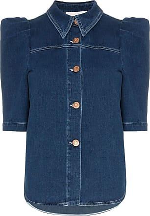 f6cfdbb55e3 See By Chloé button down puff sleeve denim blouse - Blue