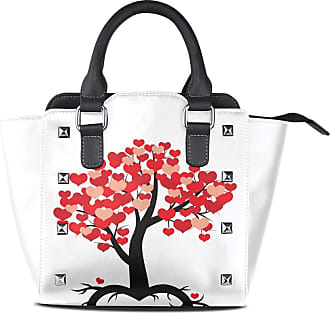 NaiiaN Light Weight Strap Purse Shopping Shoulder Bags Tote Bag Leather Love Tree Branch Decorated Red Heart For Valentines Day Handbags Letter for Women Gir